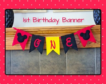 Mickey Banner-First Birthday-Felt Embroidered Banner-Birthday Decoration-Mickey 1st Birthday-Mickey Theme Party-1st Birthday Banner-Parties
