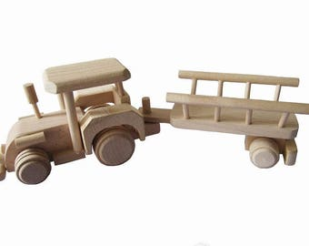 Wooden tractor with trailer,farm tractor,toy for boys,gift, unpainted toy, eco toy