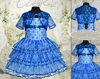 Blue Knee length Tiered Lace Flower Girl Dress with Bolero-Birthday Wedding Party Holiday Bridesmaid Flower Girl Blue Lace Dress S-312