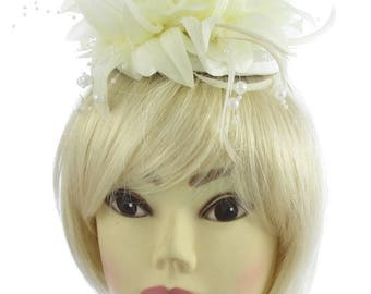 Ivory cream and white hatinator juliet cap and headband, Weddings, races, Ladies day