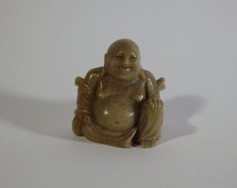 Antique China Chinese Miniature Hand-Carved Soapstone Figurine-Buddha
