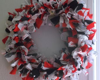 Red, White & Black Fabric Knot Wreath