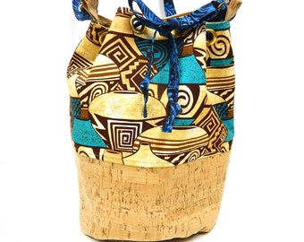 Shoulder Crossbody Bucket Handbag Cork and Cotton with Grommets and Drawstring Closure, Southwestern Fabric