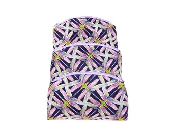 Zipper Travel Pouches, Three Cosmetic Bags, Jewelry Pouches, Small, Medium and Large Pouches, Quilted Cotton
