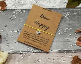 Bee Wish Bracelet, Bee Bracelet, Bee Friendship Bracelet, Bumble Bee Charm Bracelet, Bee Jewellery, Bee Cord Bracelet, Bee Charm Bracelet