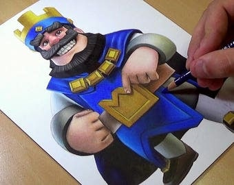 Clash Royale Drawing, Blue King