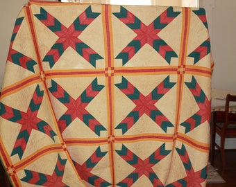 Block Floral Handmade Quilt