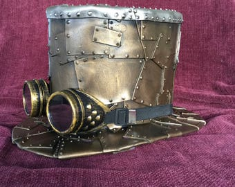 Steam Punk Top Hat Victorian style cos play prop with goggles