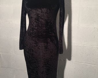 90s black crushed velved bombshell dress