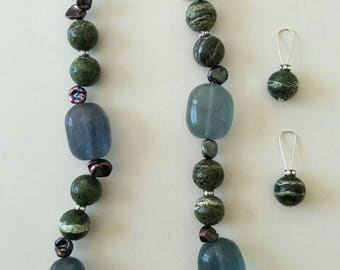 Flurite, Jasper and Keshi Pearl necklace and earring set.