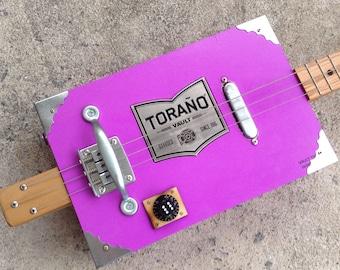 Po' Boy Guitars Torano Vault 3 String Handmade Acoustic/Electric Cigar Box Guitar With Lipstick Pickup and Fixed Bridge