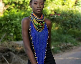 LEBENE NECKPIECE ankara necklace beads jewelr , ankara jewelry, bead, african print necklace,african print,statement neckpiece,rope necklace