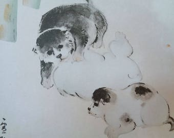 VJ531 :Painting on a shikishi board, Old Japanese watercolor/ink painting on a shikishi board''Playing puppies'' ,Artist sign