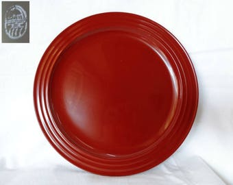 VJ779:Urushi lacquer Kashiki Tea plate,Japanese vermilion/black Urushi Lacquer wood Tea Ceremony Sweets Tray/Plate,marked,hand made inJapan