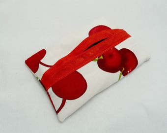 Pack of tissues case lined model: time of cherries - red and white Fruit pattern