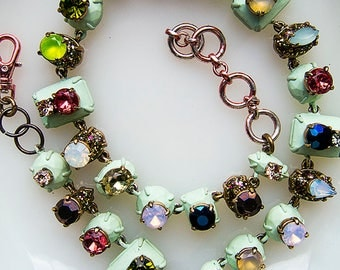 Multi-stone statement necklace - mint green and gold, pinks, purples and blues