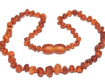 Genuine Raw Baltic Amber Baby Teething Necklace Cognac