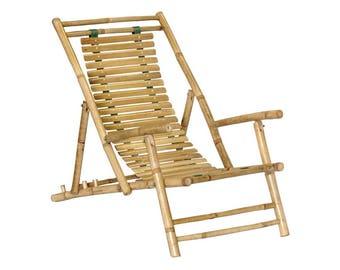 Set of 2 Bamboo Adirondack Chairs - Folding Seat Recliners