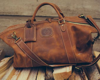 Organically Tanned, Full Grain Leather Holdall - Free Shipping in Canada