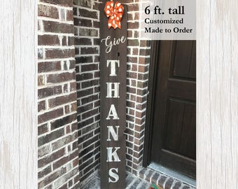 Rustic Fall Decor Give Thanks Porch Sign Rustic Wood Decor Rustic Wood Sign Fall Decoration Thanksgiving Decor Fall Porch Decor Rustic Sign