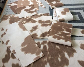 Udder madness faux cowhide upholstery fabric scraps-small