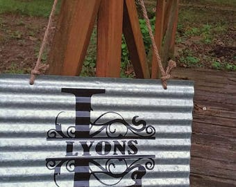 Personalized Rustic Tin Last Name  Sign