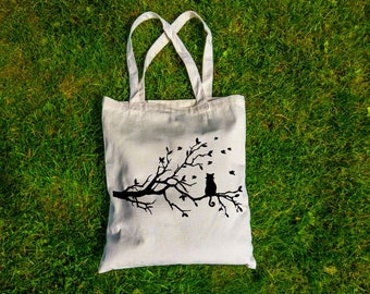 Eco-friendly Canvas Tote Bag | Screen Print Design | Quote Tote Bag | Cat In a Tree