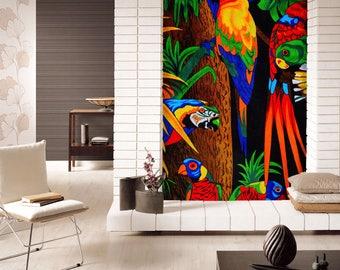 3D Colorful Parrots View 1015 Wallpaper Mural Wall Print Decal Wall Deco  Indoor Wall Murals Wall Part 58