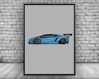 Lamborghini Aventador; Liberty Walk;Car;Super Cars;Need for Speed;Fast and Furious;Wall Print;Gift;Home Decor