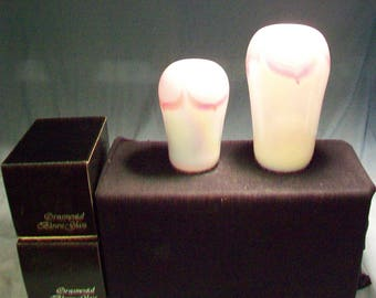 Two Ornamental Blown Glass OBG Pink Pulled Feather Vases Original Boxes