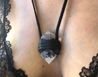 Crystal Pendant w/ leather cord - Obsidian, Rose Quartz, Amethyst, Clear Quartz, Smoky Quartz