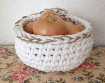 Crocheted basket handmade textile yarn