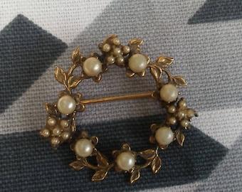 Vintage Seed Pearl Wreath Pin
