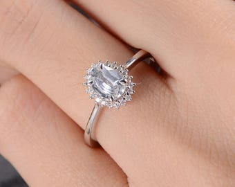 White Sapphire Engagement Ring Antique White Gold Wedding Bridal Ring Women Diamond Anniversary Promise Gift White Gold Halo Flower Antique