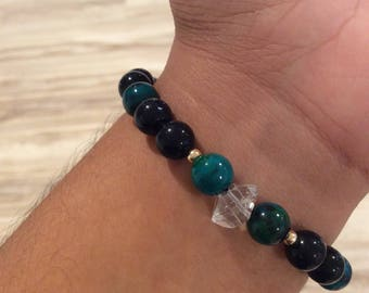 Protection, Communication, Advanced Lightwork Chrysocolla, Blue Goldstone & Herkimer Diamond bracelet