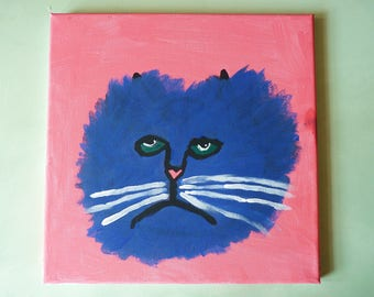 MR BLUE Melancholy Cat Original Painting on Canvas