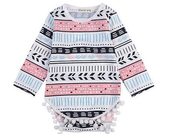 Aztec Pom Pom Long Sleeved Onesie Romper