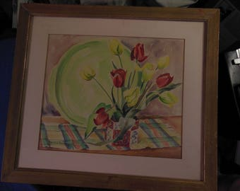 Listed California Artist Ramonna Douglass Original Watercolor Painting from 1953