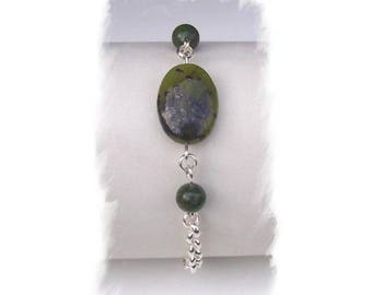 Nephrite Jade, 925 Silver BRACELET