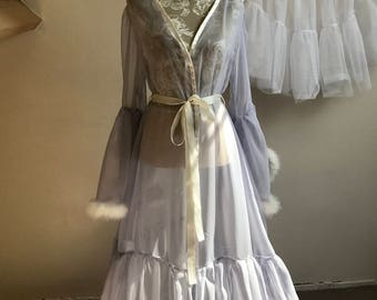 Hollywood glamour burlesque sheer feather dressing gown handmade designer