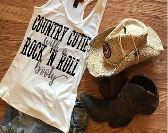 Country Cutie ~Rock And Roll Booty Tank top