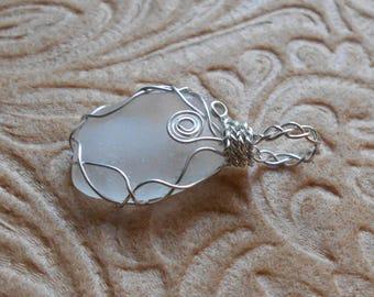 Handmade White Beach Glass Pendant