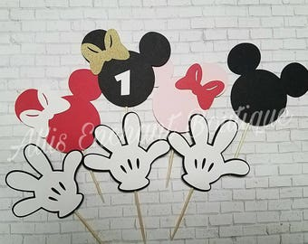 Mickey Mouse Cupcake Toppers, Mickey Mouse Clubhouse, Birthday Party Minnie Mouse, Bow Cupcake Toppers, Mickey Mouse Hands