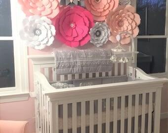 Large paper flowers nursery wall decor. Large flowers wall. Nursery flowers. Baby shower backdrop. Large pink flowers wall. Nursery flowers.
