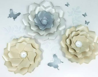 Paper flowers wall decor. Large ivory paper flowers wall decor. Nursery silver flowers wall. Wedding flowers backdrop. Baby shower backdrop.