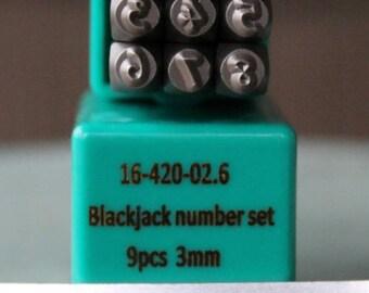 3mm Blackjack Font Number Metal Stamp Number Set - Supply Guy Stamp - SGCH-BJN3MM