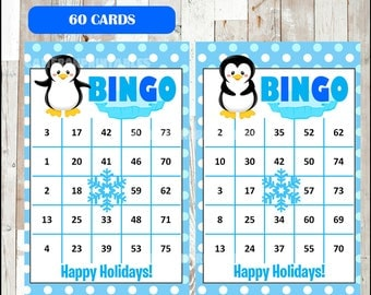 Winter Bingo Printable Game - 100 different Cards - Penguin Game - Party Game Printable - INSTANT DOWNLOAD