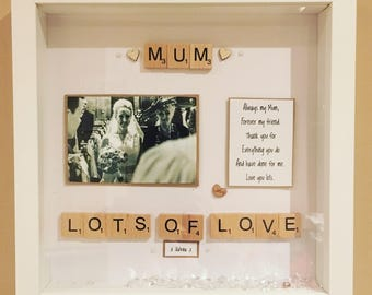 Mum  / Mom relation frame handmade scrabble personalised frame Mothers Day Gift for Mum Mother's Day Gift