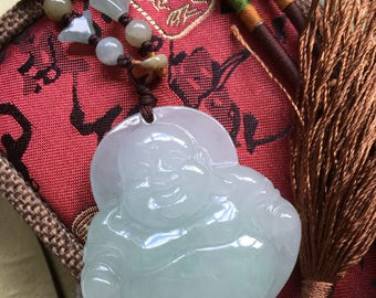 Massive Natural Jadeite Buddha Pendant with Adjustable Necklace