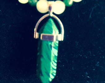 """Stunning Jade Crystal Pendant and beaded necklace, 20"""""""